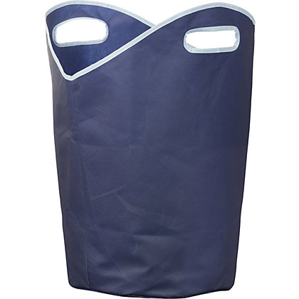 Image for Russel Non Woven Laundry Hamper with handles - Navy Blue with Light Blue Trim from StoreName