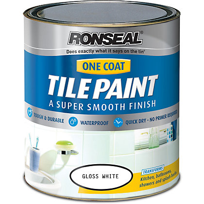 Image for Ronseal Pure Brilliant White - One Coat Hi Gloss Tile Paint - 750ml from StoreName