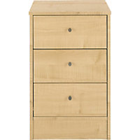 Malibu 3 Drawer Bedside Chest - Maple Effect.