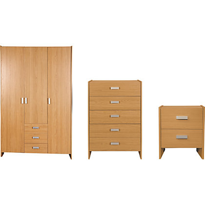 Triple Oak Sliding Wardrobe Package At Homebase Be Inspired And Make Your House A Home Buy Now