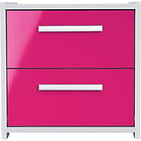 Sywell 2 Drawer Bedside Chest - White and Pink Gloss.