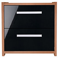 Sywell 2 Drawer Bedside Chest - Walnut and Black Gloss.