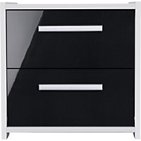 Sywell 2 Drawer Bedside Chest - White and Black Gloss.