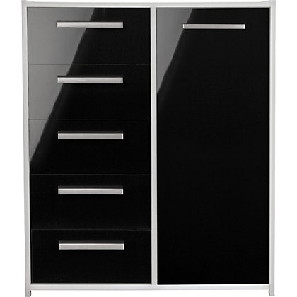 Sywell 5 Drawer 1 Dr Chest White Black Gloss Effect