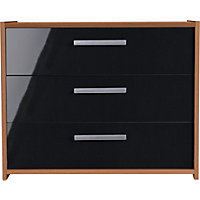 Sywell 3 Drawer Chest - Walnut and Black Gloss Effect.