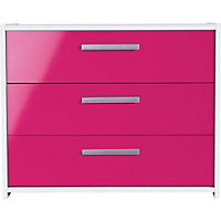 Sywell 3 Drawer Chest - White and Pink Gloss Effect.