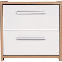 Sywell 2 Drawer Bedside Chest - Oak and White Gloss.