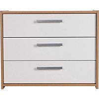 Sywell 3 Drawer Chest - Oak and White Gloss Effect.