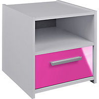 new sywell 1 drawer bedside cabinet pink
