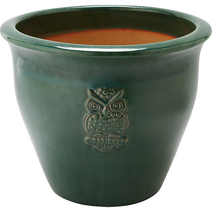 Image for Owl Motif Green Garden Planter - 30cm from StoreName