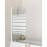Aqualux Radius Half Framed Bath Screen - White Stripe