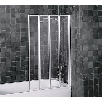 Image for Aqualux Folding Four Panel Shower Screen - White and Clear 5mm Glass from StoreName