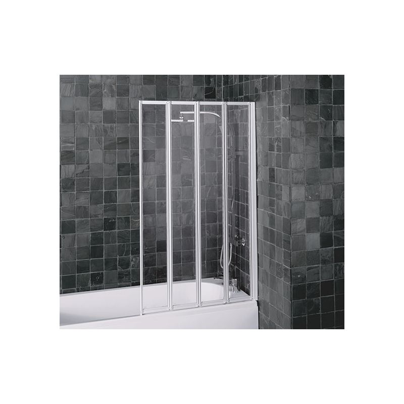 aqualux folding four panel shower screen white clear 5mm glass. Black Bedroom Furniture Sets. Home Design Ideas