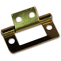 Flush Hinge Electro Brass - 75mm - Pack of 2