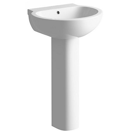 Image for Vitale Flow Full Pedestal Basin 535mm - 1 Tap Hole from StoreName