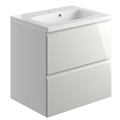 Image for Vitale Vibrant 2 Drawer Vanity Unit 600mm White/Cashmere Grey from StoreName