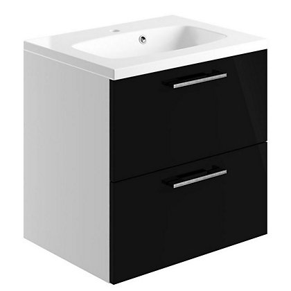 Image for Vitale Vibrant 2 Drawer Vanity Unit 600mm White/Black Gloss from StoreName