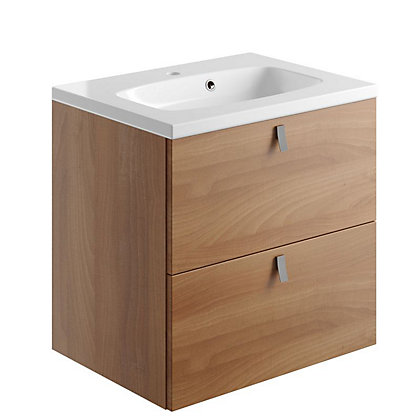 Image for Vitale Vibrant 2 Drawer Vanity Unit 600mm in Walnut from StoreName