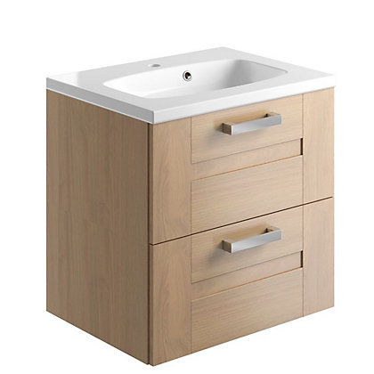 Image for Vitale Vibrant 2 Drawer Vanity Unit 600mm in Oak Classic from StoreName
