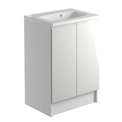 Image for Vitale Vibrant 2 Door Vanity Unit 600mm White/Cashmere Grey from StoreName