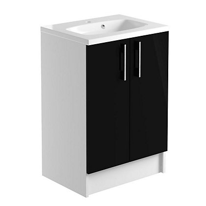 Image for Vitale Vibrant 2 Door Vanity Unit 600mm White/Black Gloss from StoreName