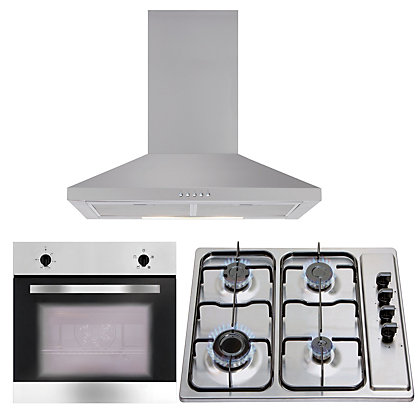 Image for Matrix Appliance Package - MHG100SS Gas Hob, MEH601SS Chimney Cooker Hood & MS001SS Single Oven from StoreName