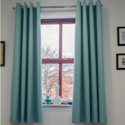 Home of Style Eyelet Blackout Curtains - Duck Egg 66 x 54in