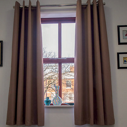 Image for Home of Style Eyelet Blackout Curtains - Cappuccino 66 x 54in from StoreName