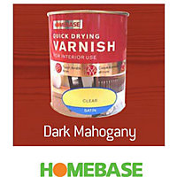 Homebase Quickdry Varnish Gloss Dark Mahogany - 750ml