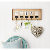 Rustic 5 Hook Chalkboard and Photo Frame