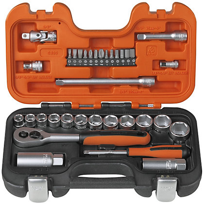 Image for Bahco 1/4in & 3/8in SQ DR Socket Set - 33 Piece from StoreName