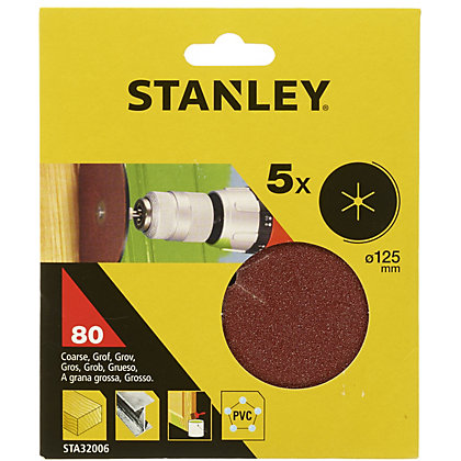 Image for Stanley 125mm Drill Sanding Discs 80G - STA32006-XJ from StoreName