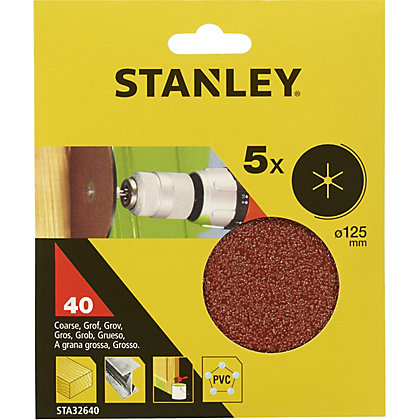 Image for Stanley 125mm Drill Sanding Discs 40G - STA32640-XJ from StoreName