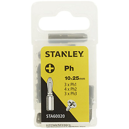Image for Fatmax 10Pc Mixed Philips 25mm bits - STA60020-XJ from StoreName