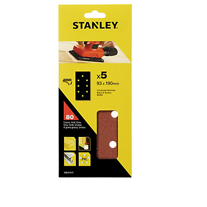 Image for Stanley 1/3 Sheet Sander 80G Hook & Loop Sanding Sheets - STA31517-XJ from StoreName