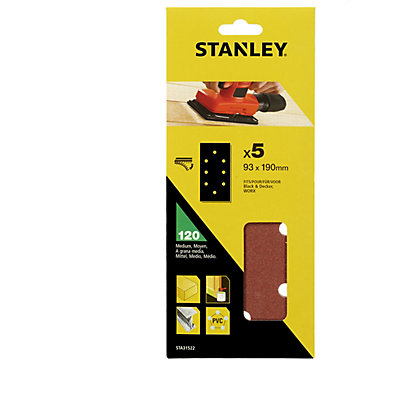 Image for Stanley 1/3 Sheet Sander 120G Hook & Loop Sanding Sheets - STA31522-XJ from StoreName