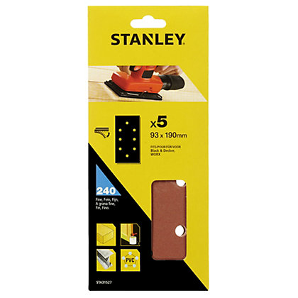 Image for Stanley 1/3 Sander Sheets 240G Hook & Loop Sanding Sheets - STA31527-XJ from StoreName