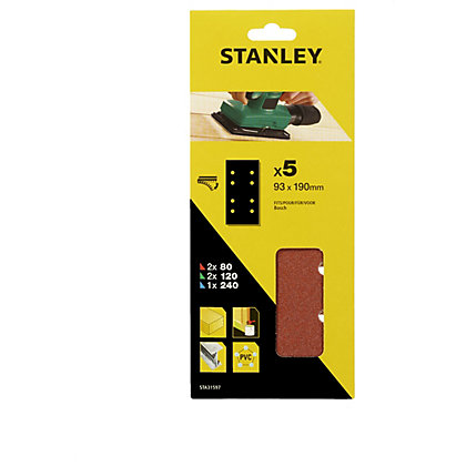 Image for Stanley 1/3 Sheet Sander Mixed Hook & Loop Sanding Sheets - STA31597-XJ from StoreName