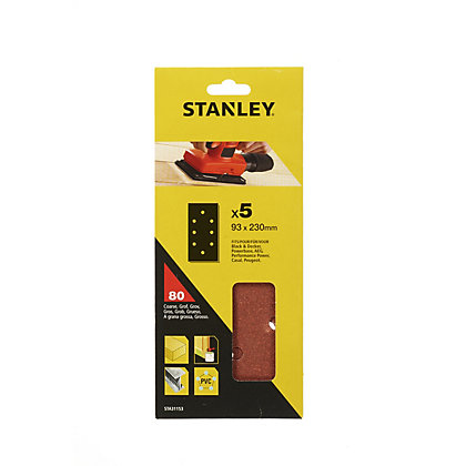 Image for Stanley 1/3 Sheet Sander Punched Wire Clip 80G Sanding Sheets - STA31153-XJ from StoreName