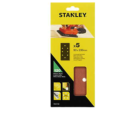 Image for Stanley 1/3 Sheet Sander Punched Wire Clip 120G Sanding Sheets - STA31158-XJ from StoreName