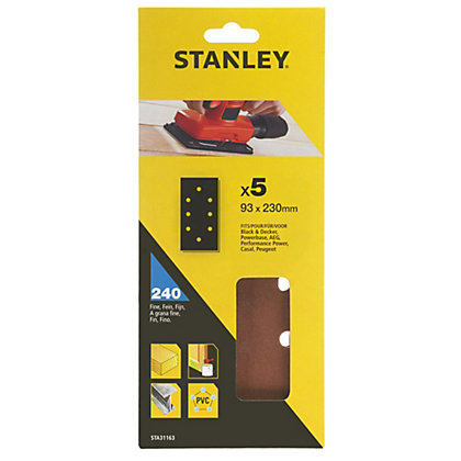 Image for Stanley 1/3 Sheet Sander Punched Wire Clip 240G Sanding Sheets - STA31163-XJ from StoreName