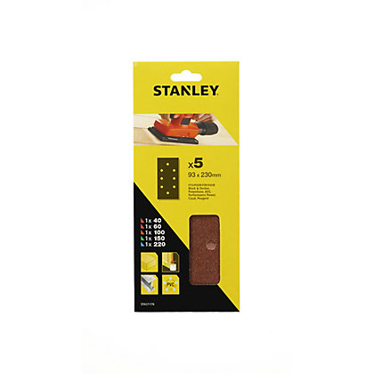 Image for Stanley 1/3 Sheet Sanding Punched Wire Clip Mixed Sanding Sheets - STA31176-XJ from StoreName