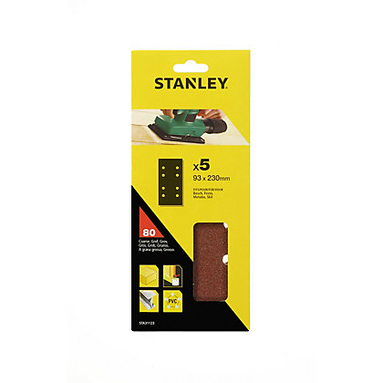 Image for Stanley 1/3 Sheet Sander Punched Wire Clip 80G Sanding Sheets from StoreName