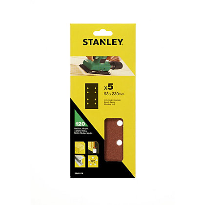 Image for Stanley 1/3 Sheet Sander Punched Wire Clip 120G Sanding Sheets from StoreName