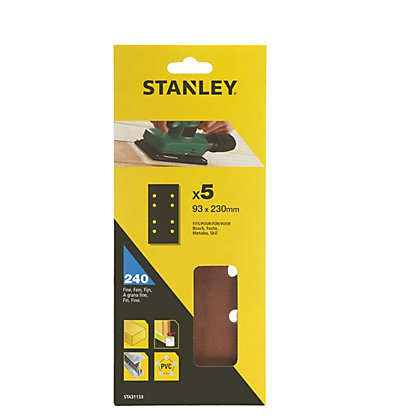 Image for Stanley 1/3 Sheet Sander Punched Wire Clip 240G Sanding Sheets from StoreName