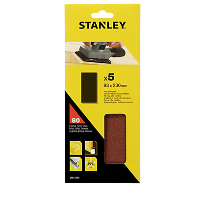 Image for Stanley 1/3 Sheet Sander UNPunched Wire Clip 80G Sanding Sheets - STA31093-XJ from StoreName