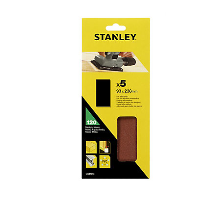 Image for Stanley 1/3 Sheet Sander UNPunched Wire Clip 120G Sanding Sheets - STA31098-XJ from StoreName