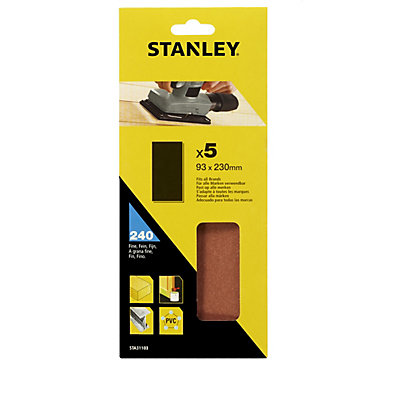 Image for Stanley 1/3 Sheet Sander UNPunched Wire Clip 240G Sanding Sheets - STA31103-XJ from StoreName