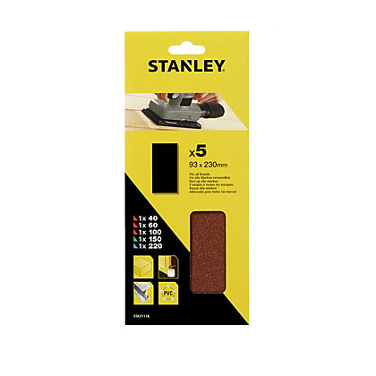Image for Stanley 1/3 Sheet Sander UNPunched Wire Clip Mixed Sanding Sheets - STA31116-XJ from StoreName