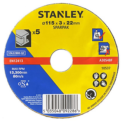 Image for Stanley 115mm Metal Cutting Disc Pack - STA32800-QZ from StoreName